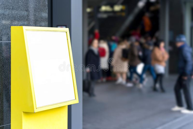 Digital kiosk blank media touch screen signboard for advertisement design in transport station, mock up with blurred background stock photos