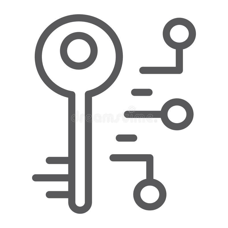 Digital klucza linii ikona, ochrona i bezpieczeństwo, klucza znak, wektorowe grafika, liniowy wzór na białym tle royalty ilustracja