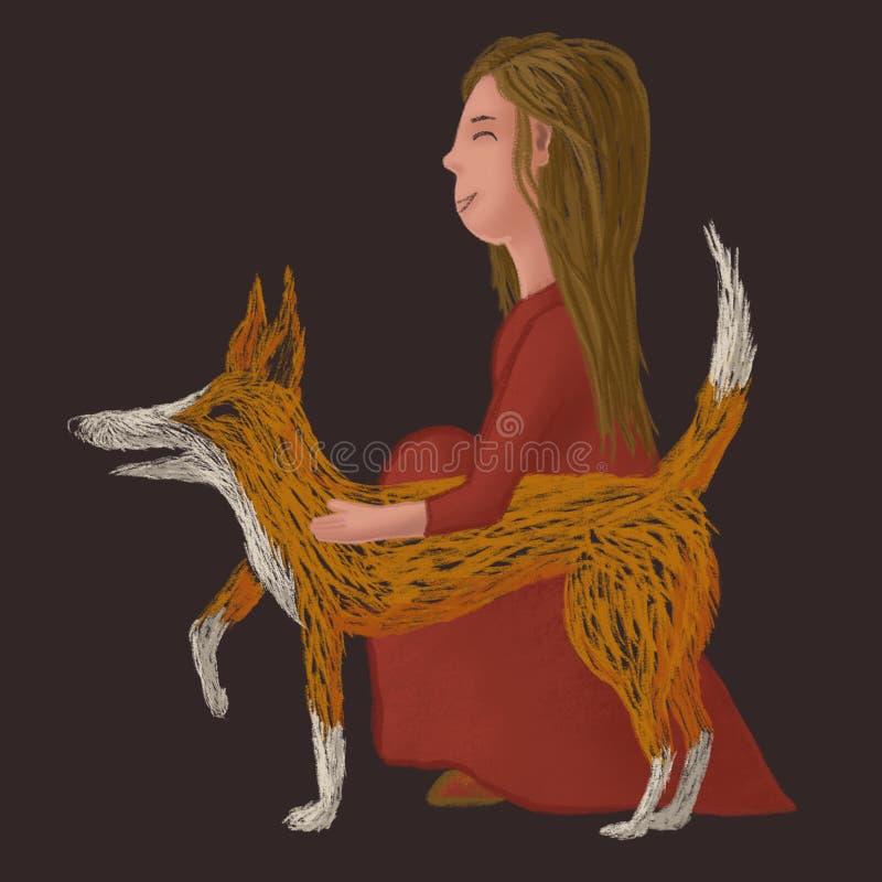 Digital knapphändig illustration av en röd hund med en flicka i röd klänning royaltyfri illustrationer