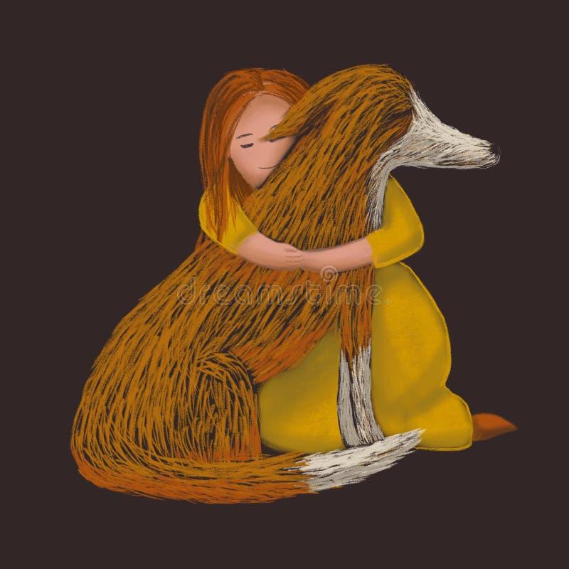Digital knapphändig illustration av en röd hund som kramar med en flicka vektor illustrationer