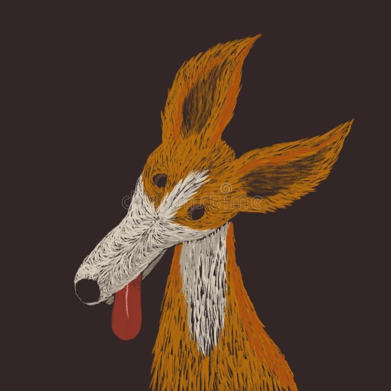 Digital knapphändig illustration av en röd hund som ser dig med intresse vektor illustrationer
