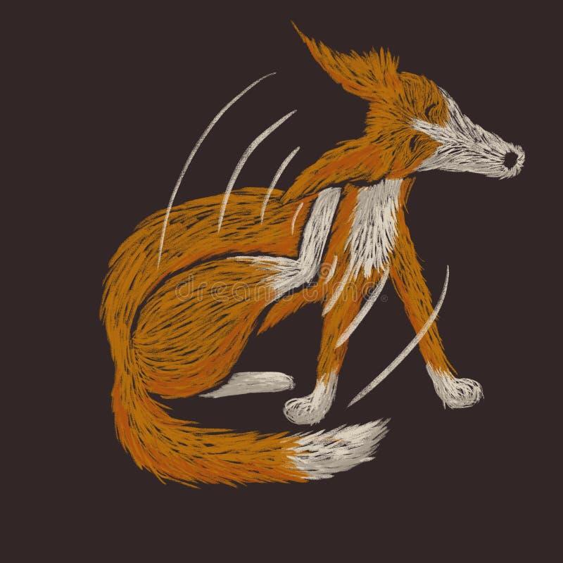 Digital knapphändig illustration av en röd hund som skrapar den öra för ` s stock illustrationer