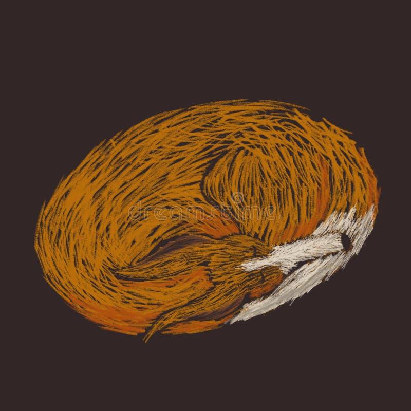 Digital knapphändig illustration av en röd hund som sleapping royaltyfri illustrationer