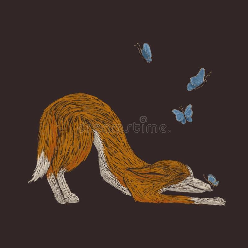Digital knapphändig illustration av en röd hund som spelar med butterfies stock illustrationer