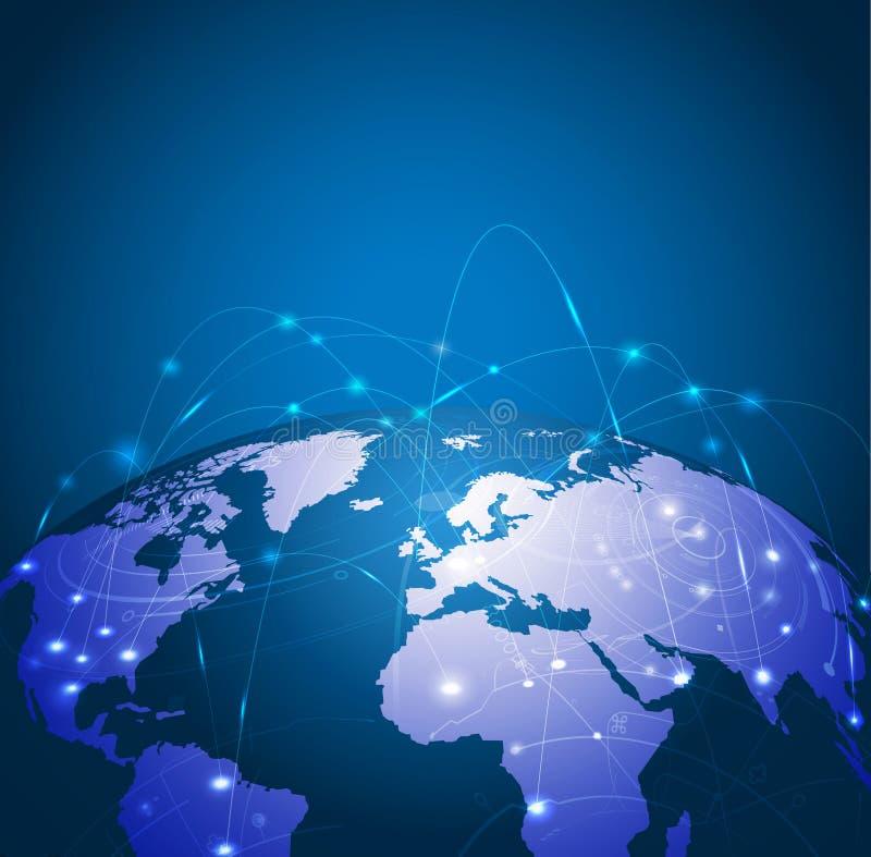 Digital kommunikation för världsingrepp och teknologinätverk royaltyfri illustrationer