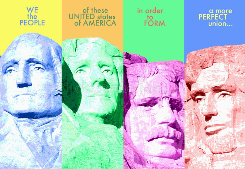 Digital komposit: Mount Rushmore och inledning till Uen S konstitution vektor illustrationer