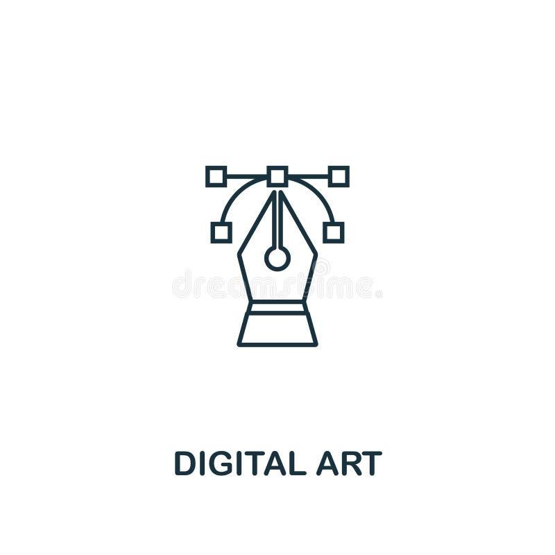 Digital konstsymbol Tunn översiktsstildesign från designui och uxsymbolssamling Idérik Digital konstsymbol för rengöringsduk vektor illustrationer