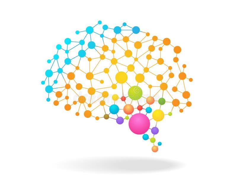 Digital-Konzept des bunten Gehirns aufzeichnend mit Punkten, Kreisen und Linien Auch im corel abgehobenen Betrag vektor abbildung