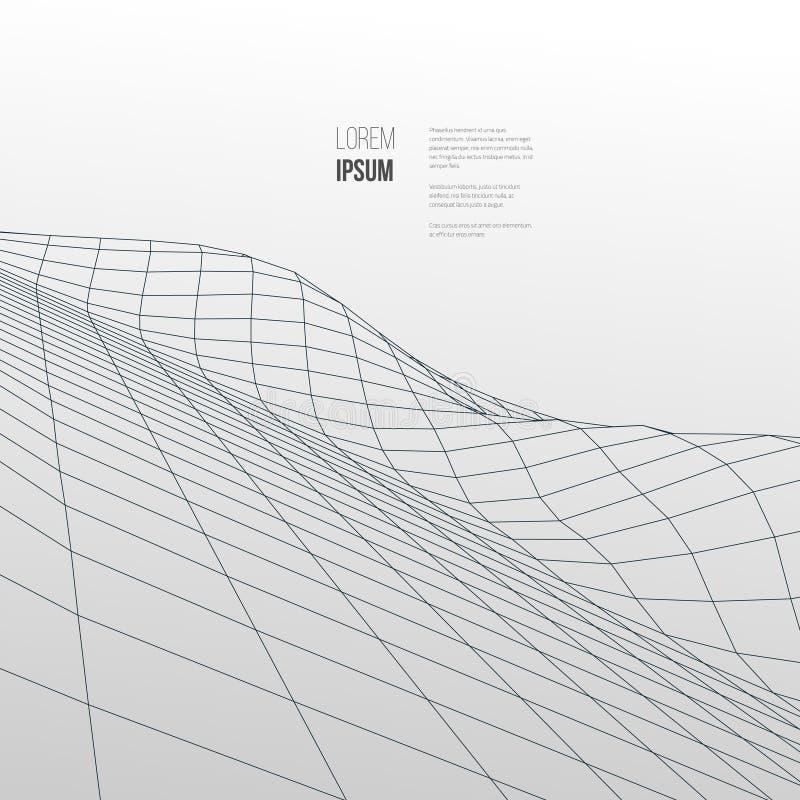 Digital krajobraz Abstrakcjonistyczny wektorowy wireframe tło 3d technologii ilustracja ilustracja wektor
