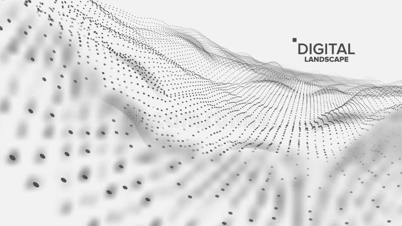 Digital krajobrazu wektor Dane technologia Falowa góra Techniki powierzchnia Kropki ziemia Geometryczni dane ilustracja 3 d ilustracja wektor