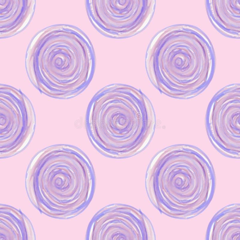 Digital-Kreise winden sich lila purpurrotes nahtloses Muster auf rosa Hintergrund vektor abbildung