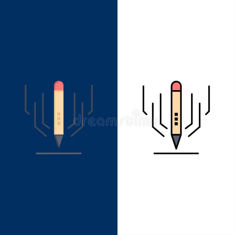 Digital-Kunst, Digital, Kunst, Ausbildungs-Ikonen Ebene und Linie gefüllte Ikone stellten Vektor-blauen Hintergrund ein stock abbildung