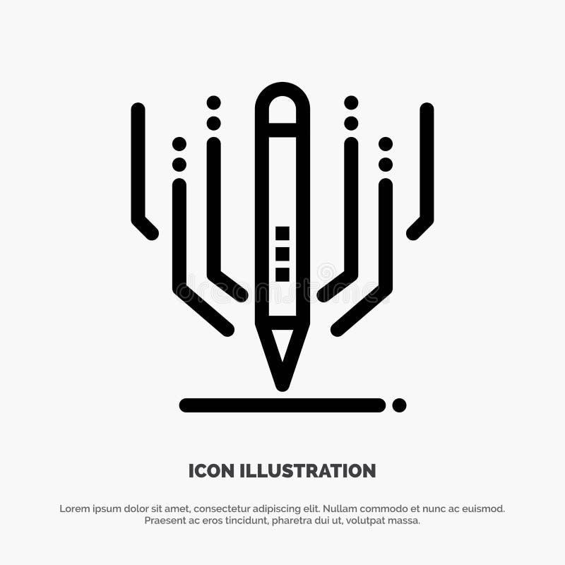 Digital-Kunst, Digital, Kunst, Ausbildungs-Vektor-Linie Ikone stock abbildung
