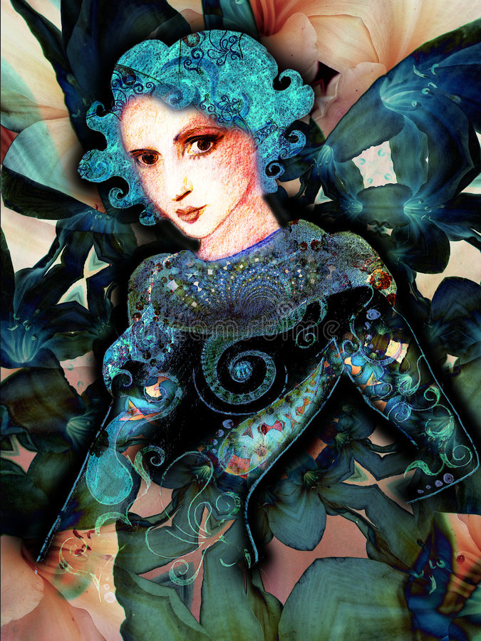 Digital-Kunst-Auszugs-Frau stock abbildung
