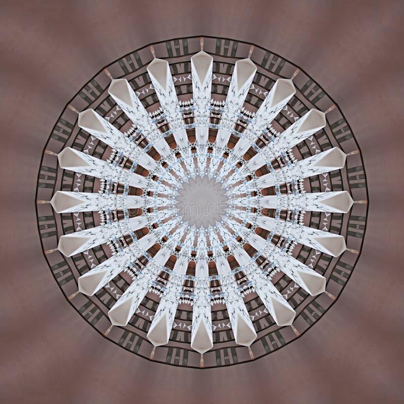 Digital-Kunstdesign gemacht von den Tabellen und von Stühlen gesehen durch Kaleidoskop lizenzfreie abbildung