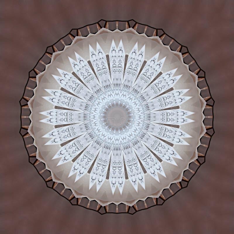 Digital-Kunstdesign gemacht von den Tabellen und von Stühlen gesehen durch Kaleidoskop stock abbildung