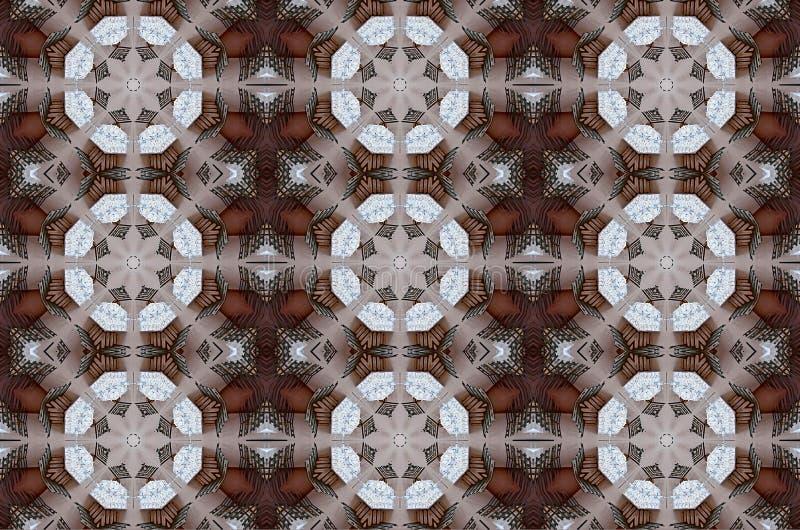 Digital-Kunstdesign gemacht von den Tabellen und von Stühlen gesehen durch Kaleidoskop vektor abbildung