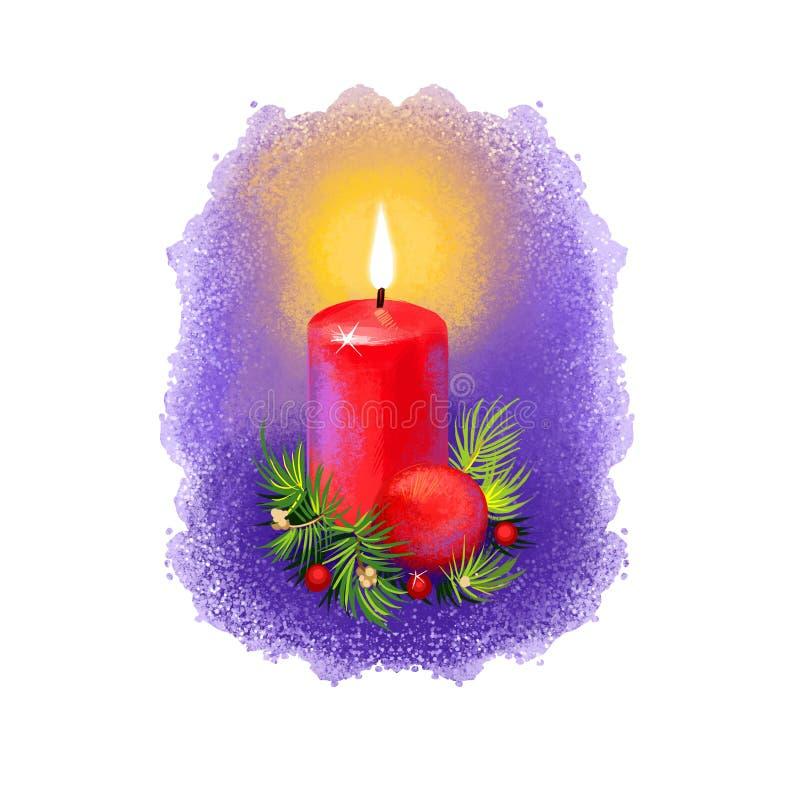 Digital-Kunstillustration der brennenden Weihnachtskerze mit den Dekorationen des neuen Jahres lokalisiert auf Weiß Frohe Weihnac stock abbildung