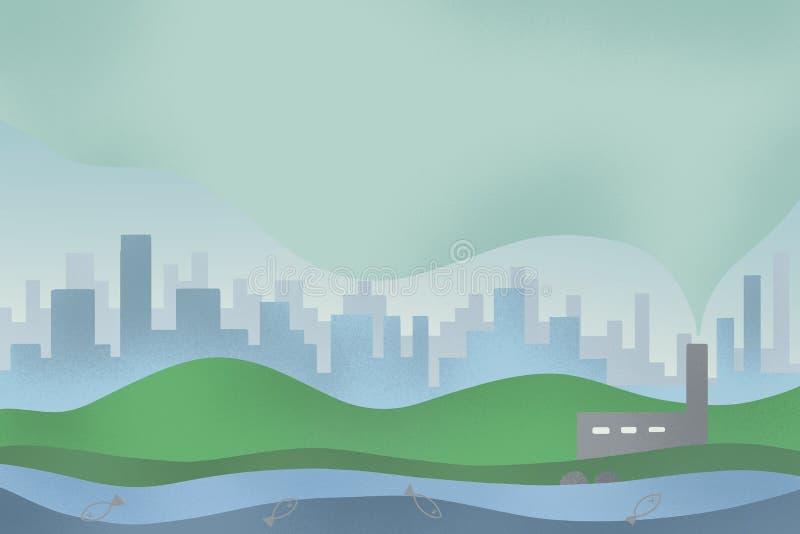 Digital-Kunstillustratorhintergrund Giftige Luftverschmutzung von Industrieanlagen Konzepten der Luftverschmutzung, Wasserverschm stockbilder