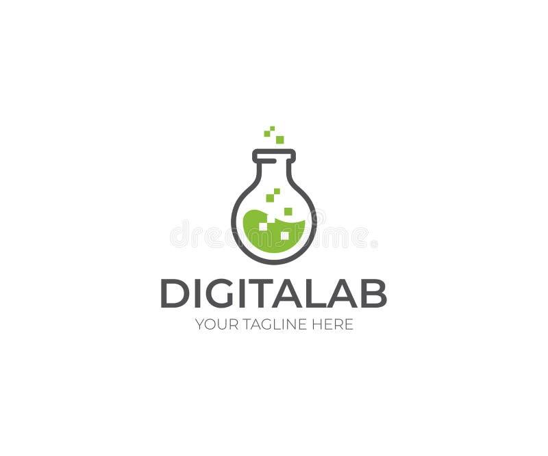Digital labb Logo Template Kemisk flaskavektordesign royaltyfri illustrationer