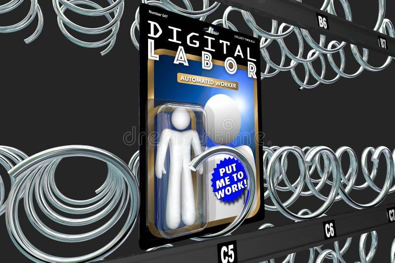 Digital Labor Action Figure Automated Internet Worker 3d Illustration stock illustration