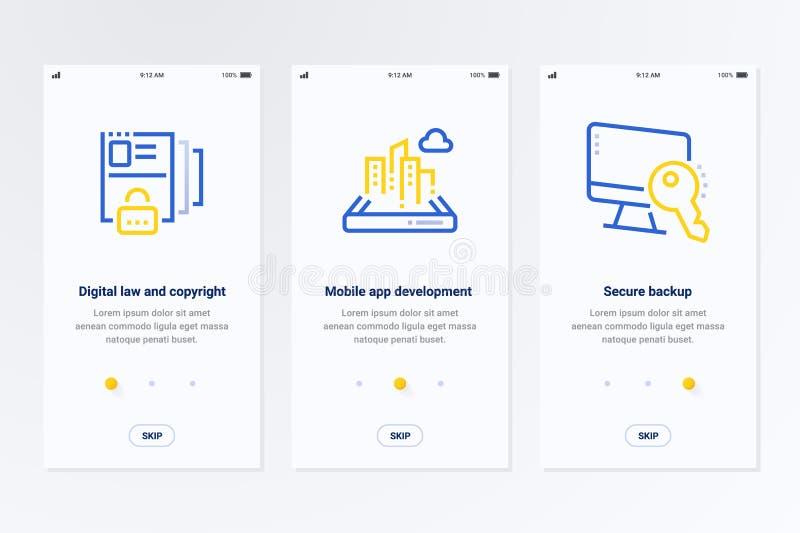 Digital lag och copyright, mobil app-utveckling, säkra reserv- vertikala kort med starka metaforer royaltyfri illustrationer