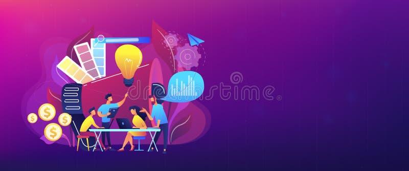 Digital lançant l'en-tête sur le marché de bannière de concept d'équipe illustration stock