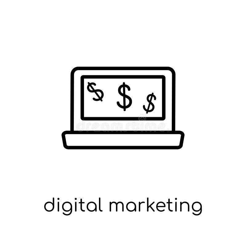 Digital lançant l'icône sur le marché de la collection illustration libre de droits