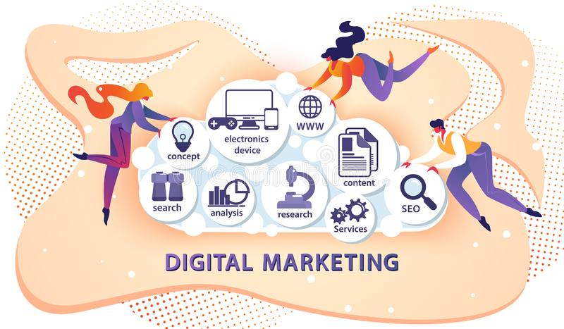 Digital lançant la bannière sur le marché avec de petites personnes occasionnelles illustration libre de droits