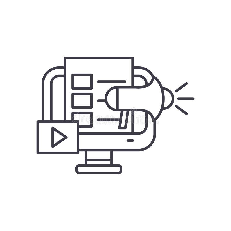 Digital lançant la ligne sur le marché concept d'icône Illustration linéaire de vecteur de vente de Digital, symbole, signe illustration de vecteur