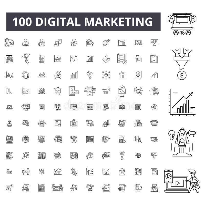 Digital lançant la ligne sur le marché editable icônes, ensemble de 100 vecteurs, collection Digital lançant les illustrations su illustration de vecteur