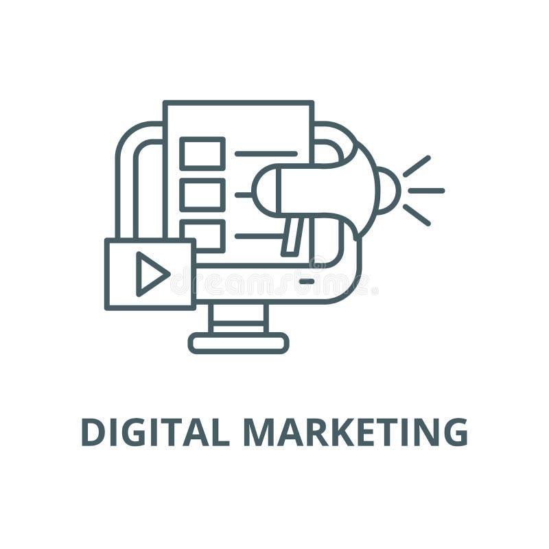 Digital lançant la ligne sur le marché icône, vecteur Digital lançant le signe sur le marché d'ensemble, symbole de concept, illustration libre de droits