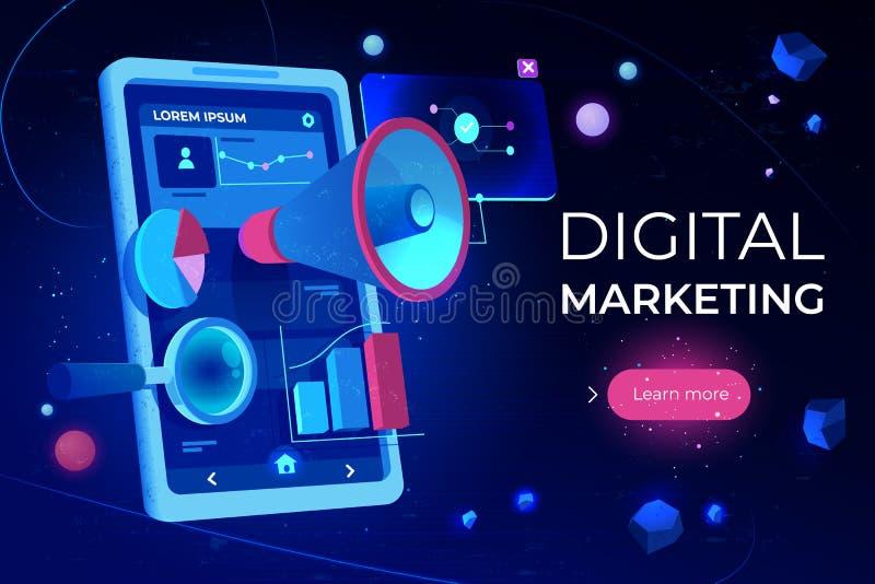 Digital lançant la page sur le marché de débarquement, écran de smartphone illustration stock