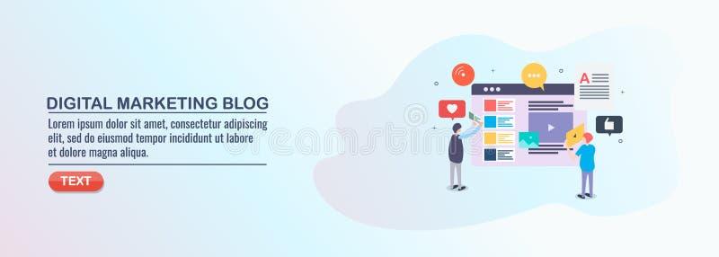 Digital lançant le blog sur le marché, engagement d'assistance avec le contenu numérique, milieu social illustration de vecteur
