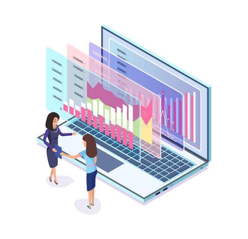 Digital lançant le graphique sur le marché dans l'ordinateur portable, femmes d'affaires illustration de vecteur