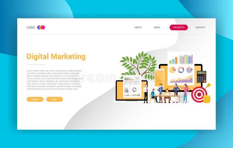 Digital lançant le site Web sur le marché de page de conception de campagne de page d'atterrissage d'affaires - illustration de illustration de vecteur