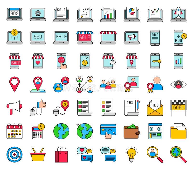Digital lançant le vecteur sur le marché réglé, a rempli course editable d'icône illustration libre de droits