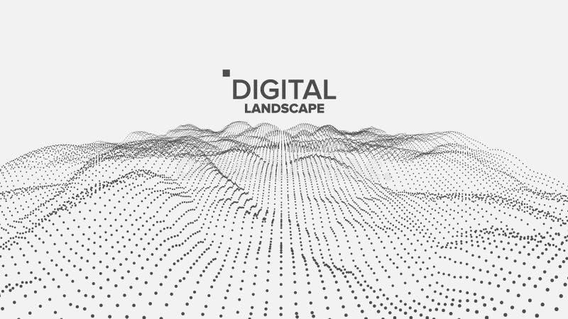 Digital Landscape Vector. Data Technology. Wave Mountain. Tech Surface. Dot Land. Geometric Data. 3D Illustration vector illustration
