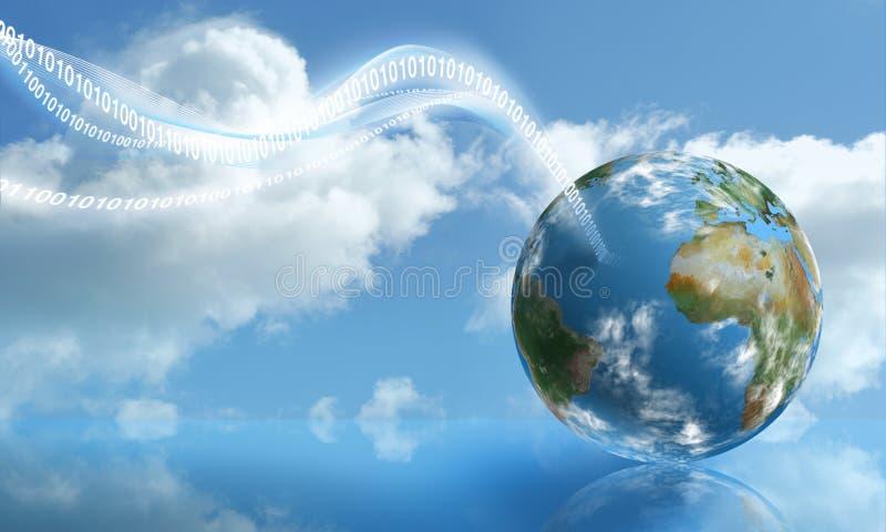 Digital-Landung mit der Wolken-Datenverarbeitung lizenzfreie abbildung