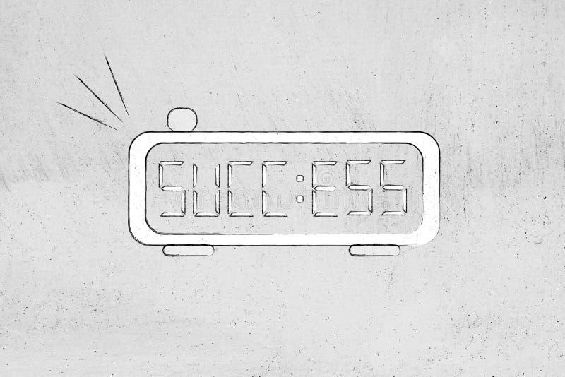 Digital larm med ordframgång i stället för tid royaltyfri illustrationer