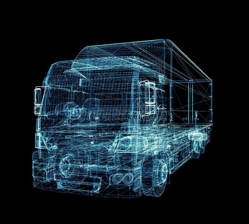 Digital lastbil Begreppet av digital teknologi royaltyfri illustrationer