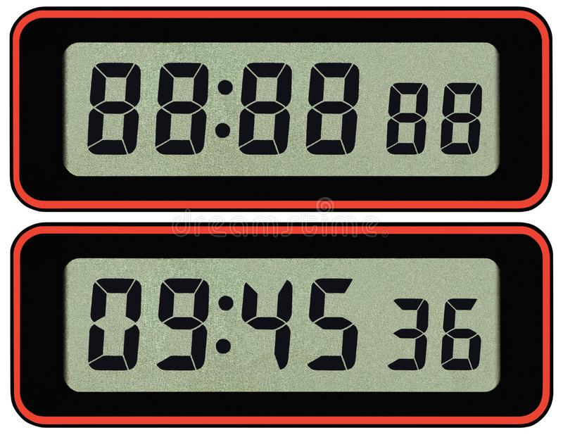 Digital lcd stopwatch timer typeface template, isolated seven segment black arabic numerals, binary digit countdown concept. Electronic alarm watch time digits stock photo
