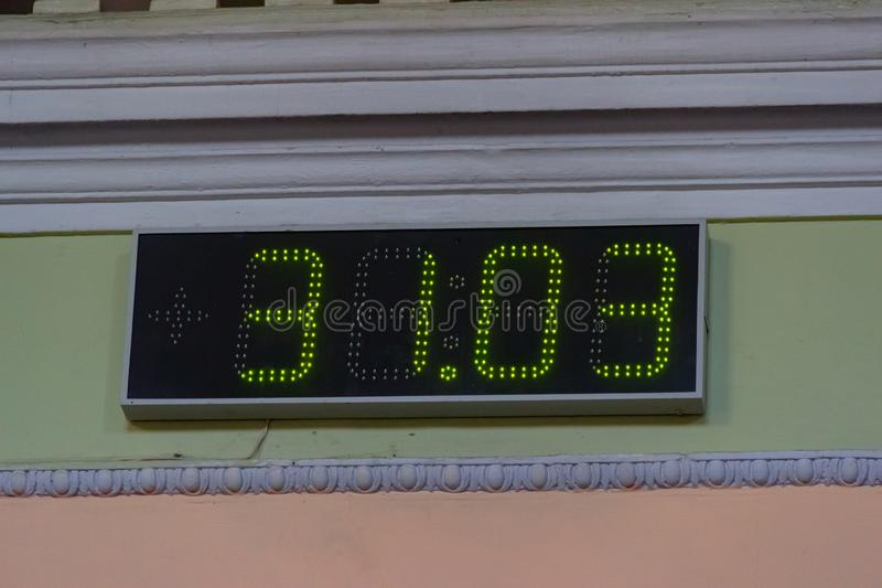 Digital LED display at entrance to the place of the polling station in the university building. Election of the President of. Ukraine. Warm sunny day stock photography