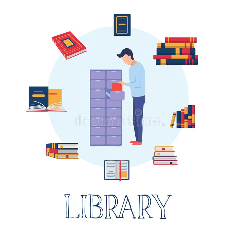 Digital library, e learning, online course concept. vector illustration