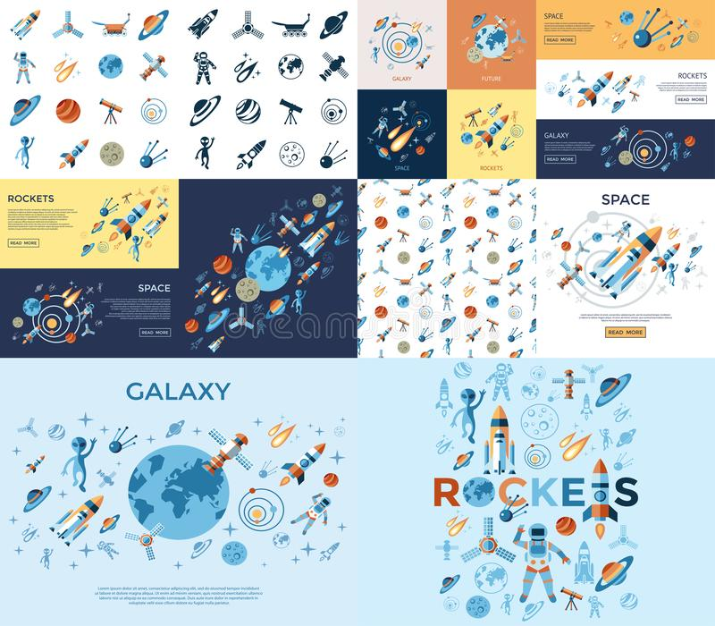 Digital line icons set space and rockets royalty free illustration