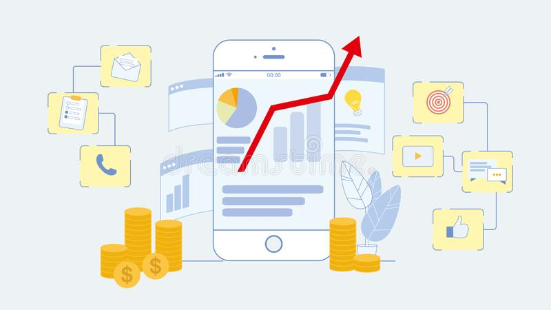 Digital, on-line-Marketing-flache Vektor-Illustration lizenzfreie abbildung