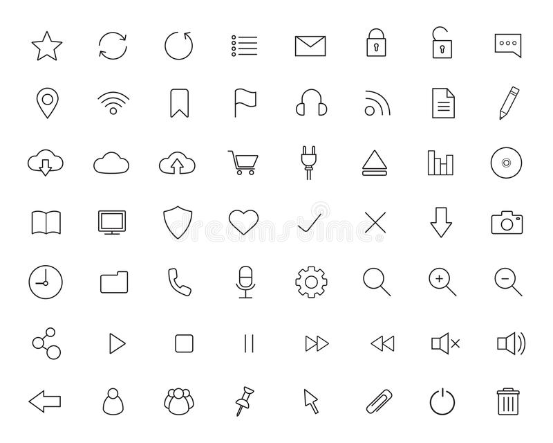 Digital linear icons set royalty free illustration