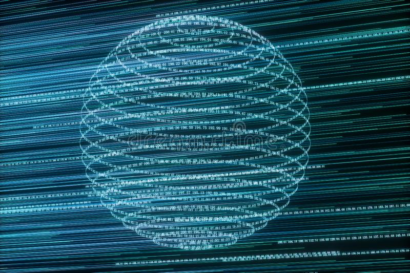 Digital lines made of numbers, globe big data background, 3d rendering. Computer digital background, space, system, science, scientific, futuristic, cyberspace royalty free illustration