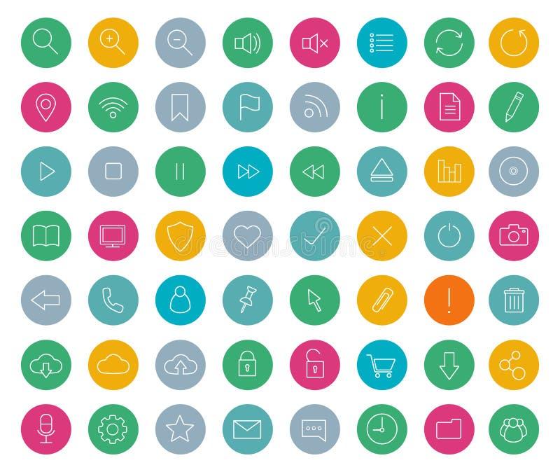 Digital linjär symbolsuppsättning färg vektor illustrationer