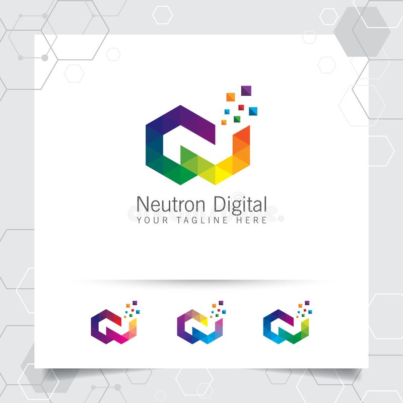 Digital logo letter N design vector with modern colorful pixel for technology, software, studio, app, and business stock illustration